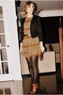 Black-sirens-blazer-brown-ebay-dress-black-ardene-stockings-brown-aldo-boo
