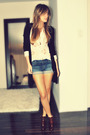Black-zara-cardigan-beige-winners-blouse-blue-le-garage-shorts-brown-aldo-