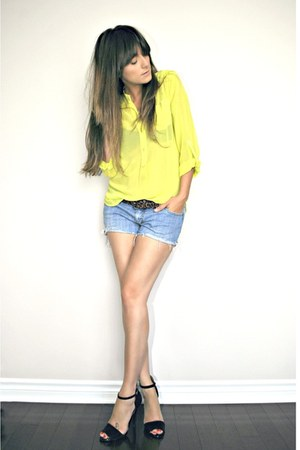 yellow neon necessary clothing blouse - blue diy shorts Levis shorts