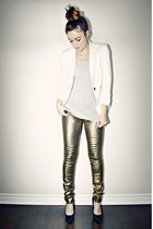 gold metallic skinny Ardene jeans