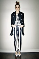 white striped Motel Rocks jeans - black military Sheinside coat
