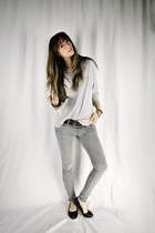 heather gray skinny Forever 21 jeans - heather gray Topshop top