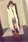 White-forever-21-brown-zara-dress-black-ardene-socks-brown-csn-stores-boot
