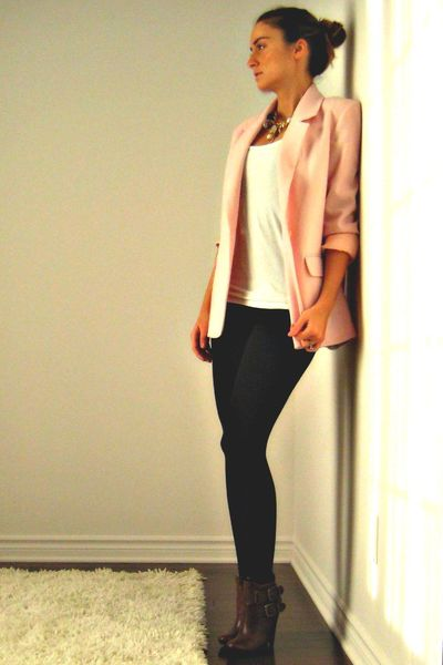 pink wool Ebay blazer - brown buckle ankle Aldo boots