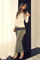 green cargo Zara pants - beige Aldo boots - green ribbed eyelet  belt