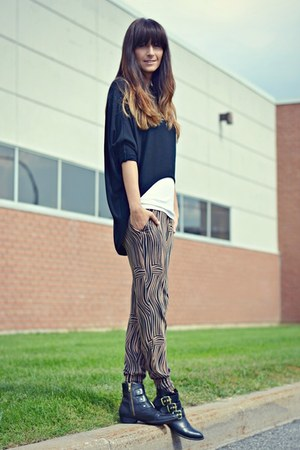 black gold buckles Dolce Vita boots - light brown zebra print H&M pants