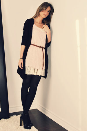 black H&amp;M cardigan - pink Ardene top - beige Ebay dress - brown Ardene belt - bl