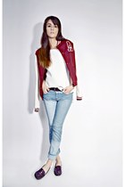 light blue patchwork PERSUNMALL jeans