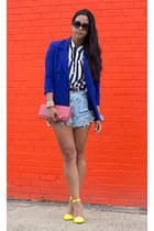 blue jacket blue vintage blazer - black vintage shirt