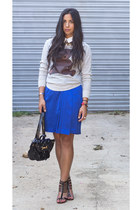 vintage skirt - vintage sweater - vintage bag