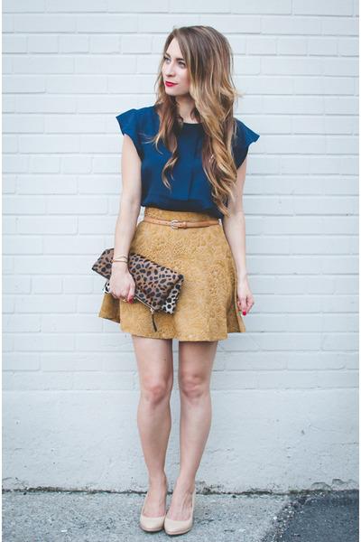 gold circle Club Monaco skirt - navy Forever 21 shirt
