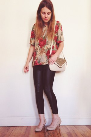 black H&M leggings - off white Urban Outfitters bag - beige Payless pumps