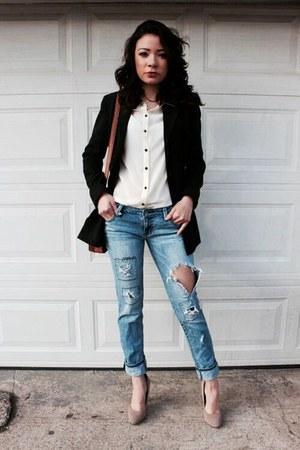 black black blazer thrifted blazer - blue boyfriend jeans jeans