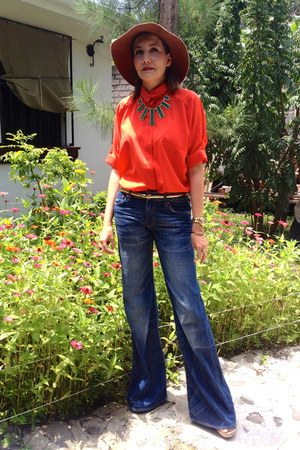 red unknown blouse - H&amp;M jeans