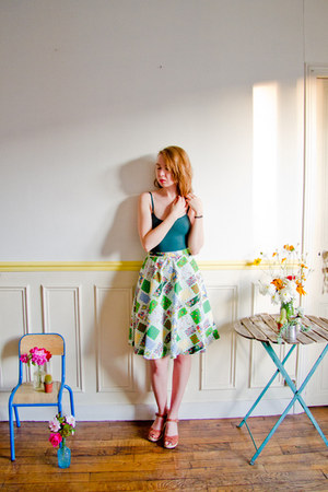 green vintage skirt - dark green American Apparel bodysuit