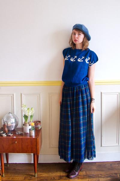 navy vintage blouse - crimson vintage boots - sky blue vintage hat