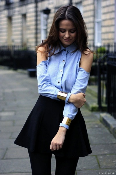 light blue Dsquared2 blouse - black Topshop leggings - black Theory skirt