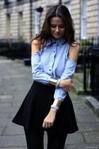 light blue Dsquared2 blouse - black Topshop leggings - black Theory skirt