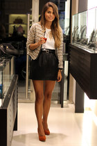 black leather Fashion Pills skirt - light brown Zara blazer