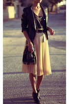 beige Bershka skirt - black leather Forever 21 jacket - dark brown Oasis shirt