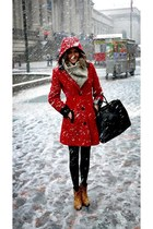 ruby red coat - tawny boots - heather gray scarf - black bag - black pants