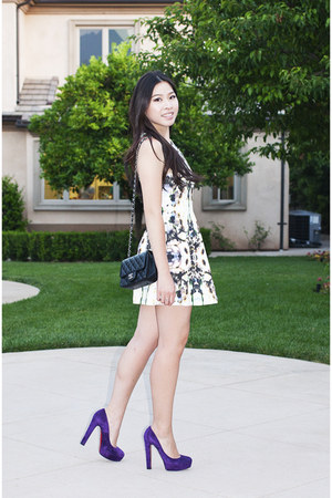 white Finders Keepers dress - black mini Chanel purse