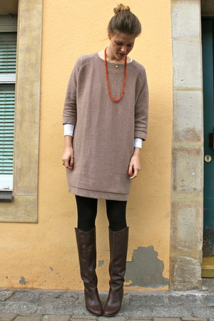 orange vintage necklace - maroon Zara boots - beige COS dress