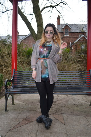 black galaxy dress - silver chiffon Primark shirt