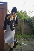 black stripe Primark dress - black leather Primark jacket