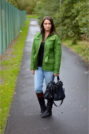 green quilted Barbour jacket - black riding boots Topshop boots