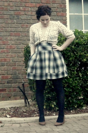 white bardot blouse - gray Tokito skirt - black Leona Edmiston tights - brown to