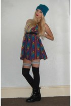 Missguided boots - asos dress - River Island hat - House of Holland stockings