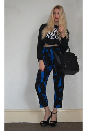Celine bag - French Connection pants - Heelberry heels - Sheinside sweatshirt