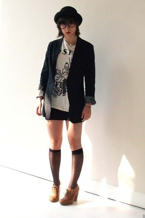H&amp;M hat - Uniqlo blazer - Marc Jacobs t-shirt - Topshop shoes