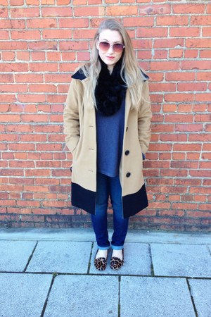 tan Dana Buchman coat - blue Levis jeans - gray calvin klein sweater