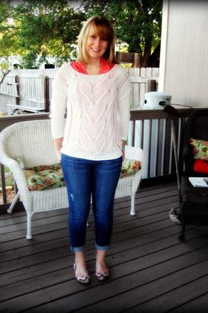 coral ruffles New York & Company blouse - blue LC Lauren Conrad jeans