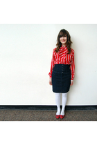 blue denim thrifted skirt - red kids Gap shoes - white target kids tights