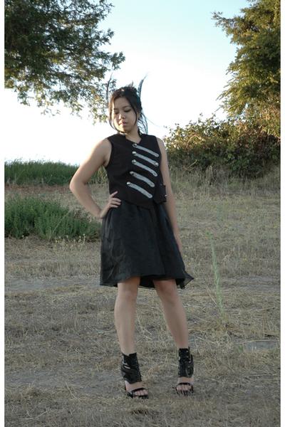 vintage dress - Target vest - handmade accessories - Givenchy shoes