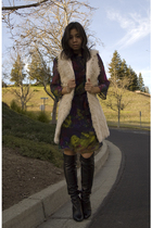 purple Erdem dress - beige f21 vest - black Chanel boots