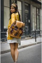 yellow Rodarte for Target cardigan - blue acne dress - yellow guatelmalan headba