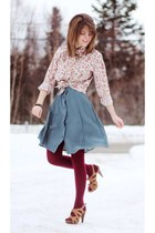 teal polka dot vintage dress - light pink floral vintage shirt - maroon tights