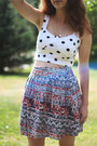White-polka-dot-shirt-navy-patterned-skirt-red-heels