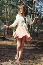 purple floral dress - eggshell lace cardigan - pink polka dot skirt