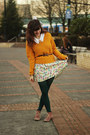 Coral-suede-boots-bubble-gum-leaf-print-dress-mustard-sweater