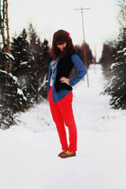 silver love sweater - navy denim shirt - black lace shirt - red pants