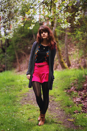 gray striped tights - bronze boots - black floral dress - hot pink shorts