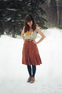 Coral-boots-yellow-dress-hot-pink-dress-navy-tights-bronze-skirt