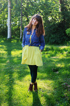 bronze boots - yellow zigzag dress - navy denim shirt - dark green tights