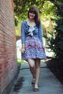 Black-polka-dot-dress-ivory-bird-patterned-shirt-maroon-floral-skirt