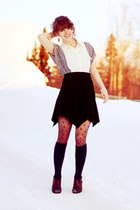navy socks - eggshell cat print Sugarlips shirt - red star print tights
